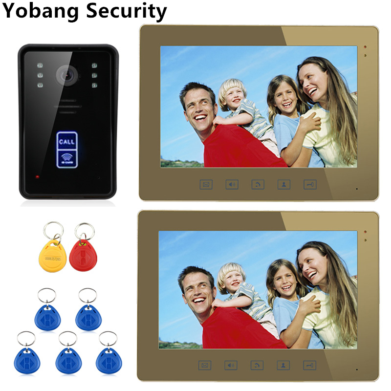 Yobang Security 10 inch monitor Video Doorbell Phone camera RFID Access Door Bell Video Intercom system with 5 RFID keyfobs yobang security freeship 7 video intercom for villa 2 monitor doorbell camera with 5pcs rfid cards hd doorbell camera in stock