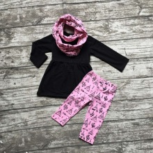 Fall/winter 3 pieces scarf hot pink top  kids OUTFITS black tent print pant  new design hot sell boutique clothes kids  sets