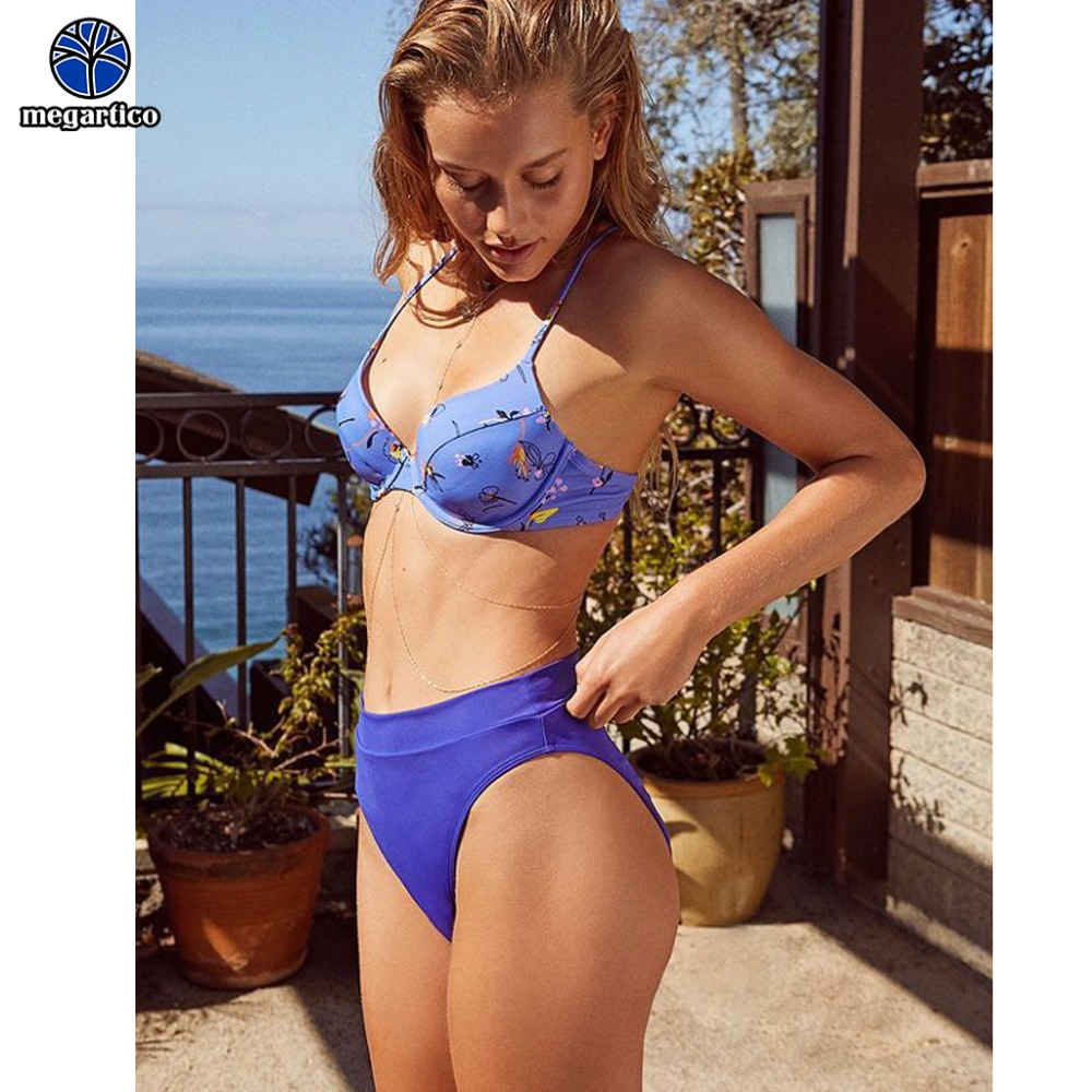 high quality swimwear women 2019 high waist push up bikini set flower underwire bandeau swimsuit woman retro sexy bathing suits 1