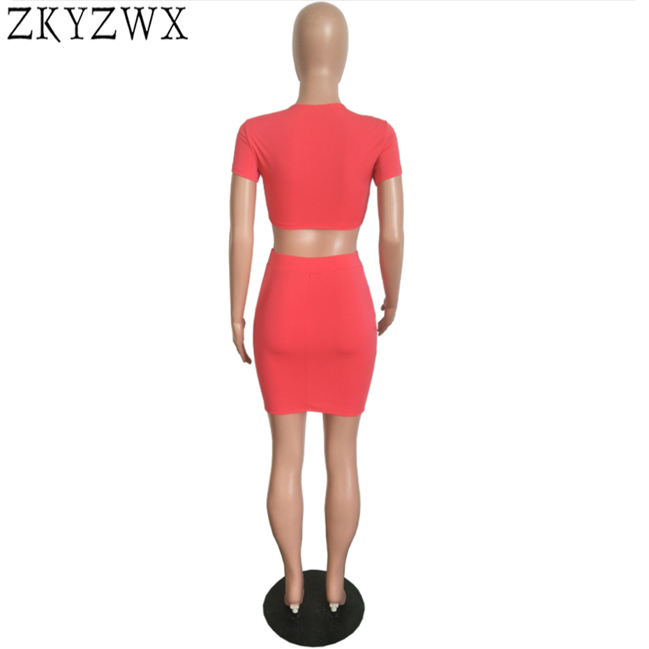 289f1e0288a7 ZKYZWX Plus Size Two Piece Set Women Sexy Summer Outfits Bronzing Eyes  Short Tops+Mini Skirts Suits Casual Clothes Matching Sets-in Women s Sets  from ...