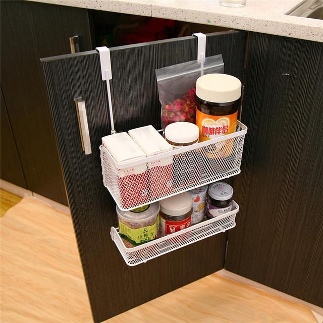 New Practical Cabinet Basket Carbon Steel Hanging Racks For Spices Bottle  Kitchen Storage Shelf Drawer Door