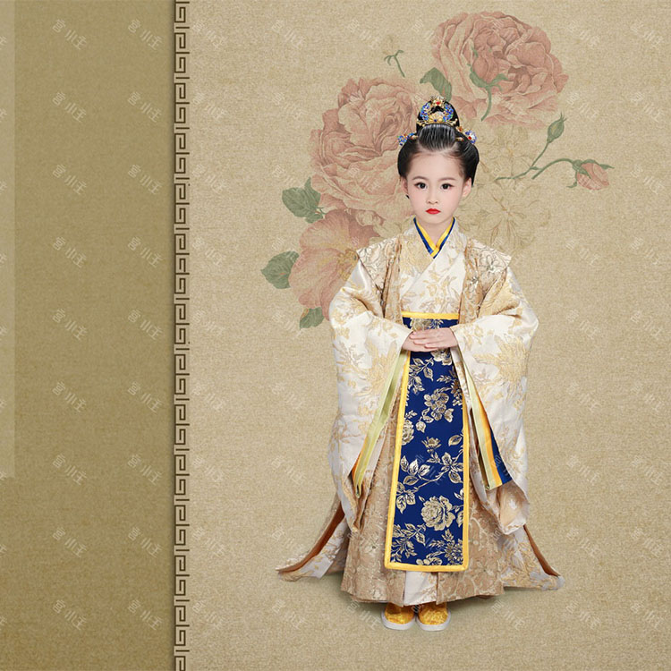 Luo Qing Yan Little Girl Kid's Costume Hanfu for Children's Day or Photography Stage Performance Princess Hanfu Costume
