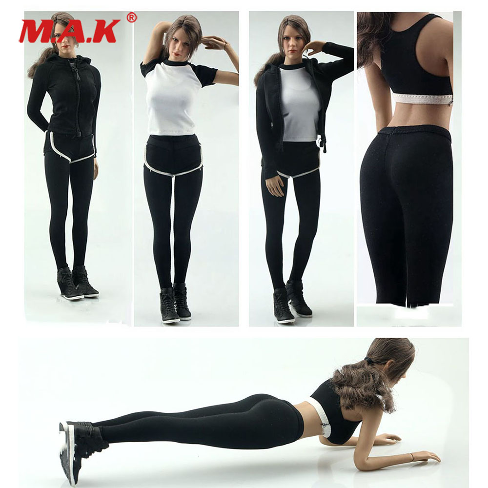1//6 Scale Toy Black w//Pink /& Blue Detailed Female Yoga Pants