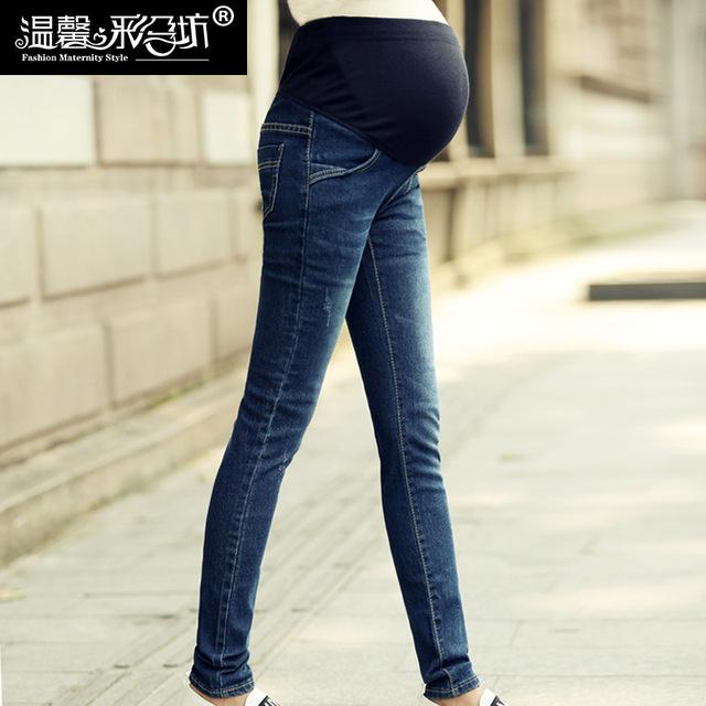 Grande Tamanho Da Cintura Elástica 100% Algodão Calças de Brim de Maternidade Para A Gravidez Roupas Para Mulheres Grávidas Legging Outono/Inverno