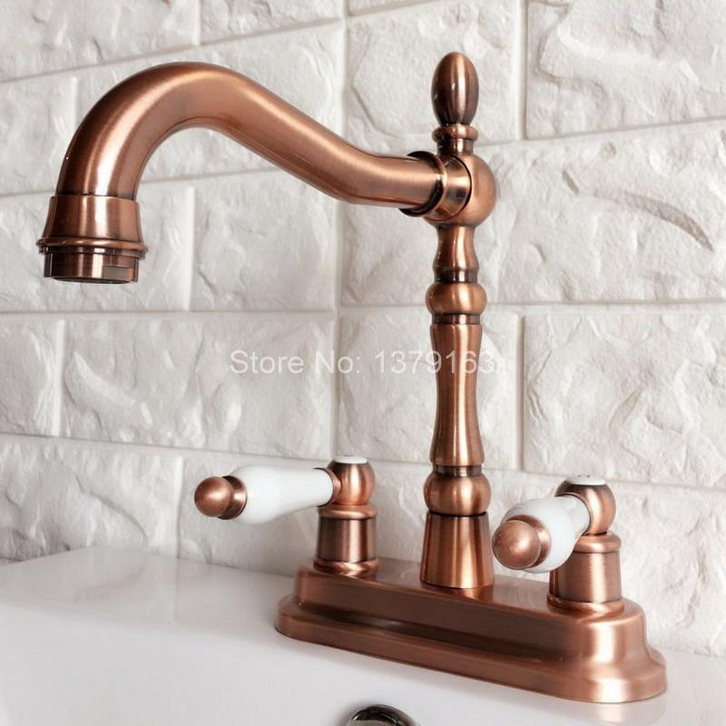 Antique Red Copper 4 Centerset Brass Kitchen Bathroom Vessel Sink Two Holes Basin Swivel Faucet Dual Handles Water Tap arg049 antique brass swivel spout dual cross handles kitchen