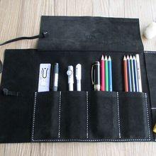 HighQuality vintage 36.5*20cm largespace school pencil case cowhide leather pencil bag estuche school astuccio scuola