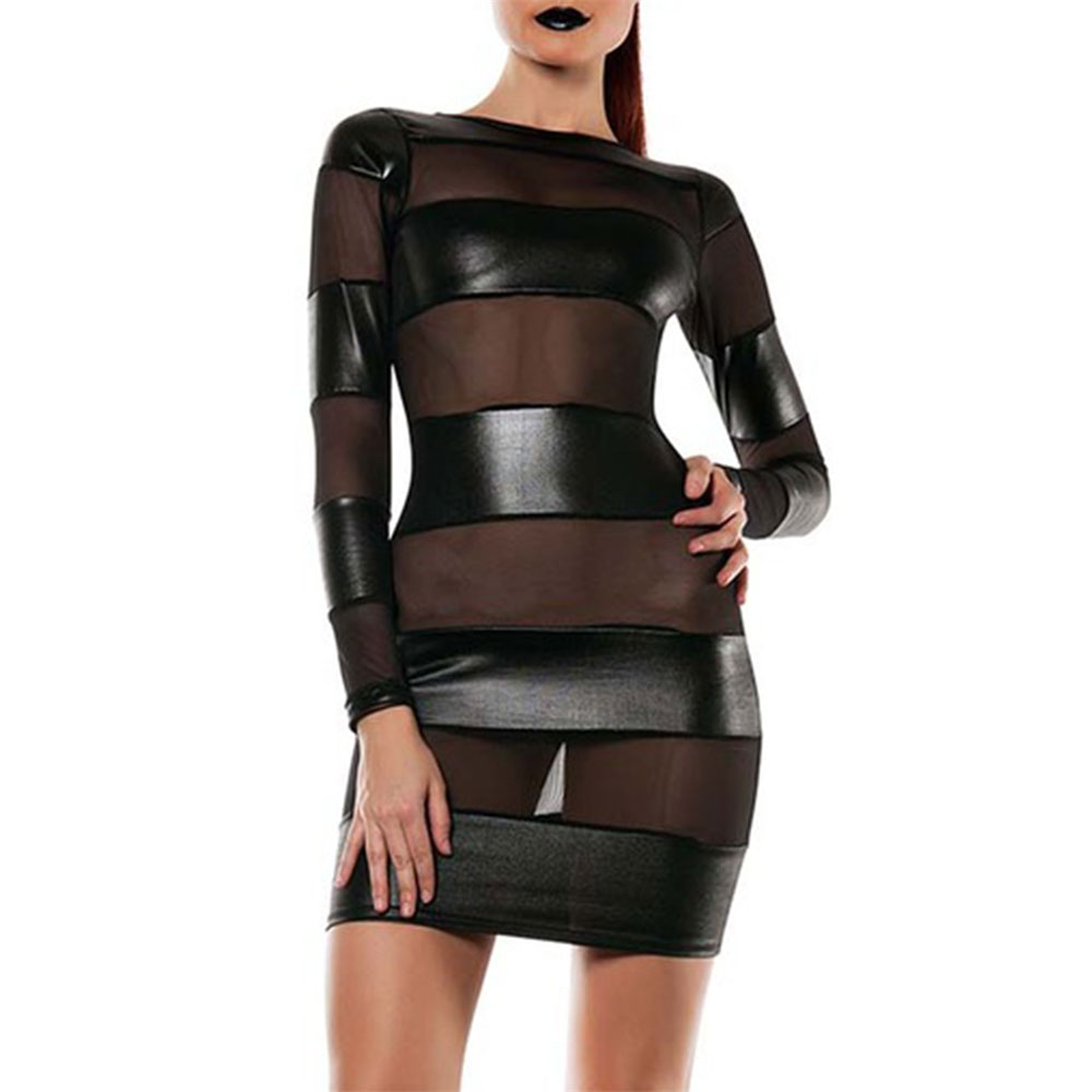Women Leather Sheer Dress Mesh Patchwork Erotic Nightclub A-Line Transparent See Through Erotic Clubwear Sexy Party Mini Dress