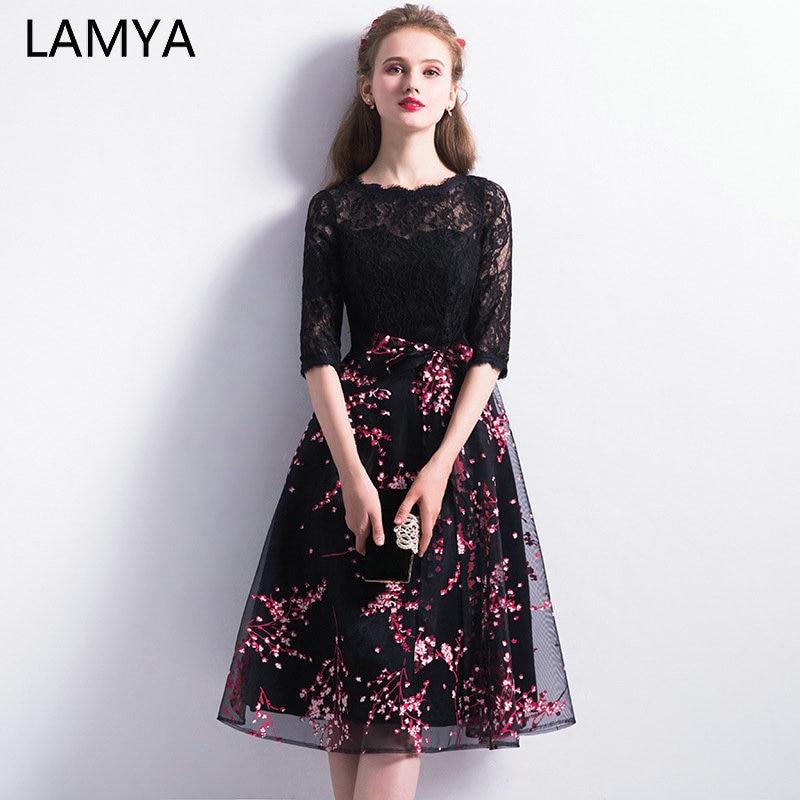 LAMYA Vintage Black Knee Length   Prom     Dress   2019 Half Lace Sleeve Evening Party   Dresses   O Neck Formal Gown robe de soiree