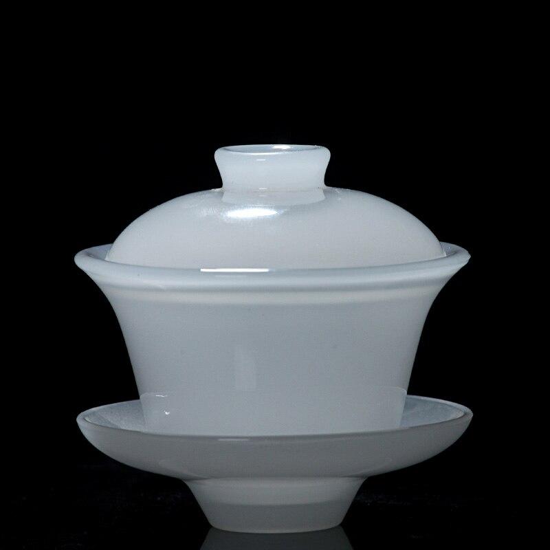130 ml Boutique blanc Jade porcelaine Gaiwan chinois sain Kung Fu thé ensemble thé fabricant en céramique soupière tasse principale couvercle bol