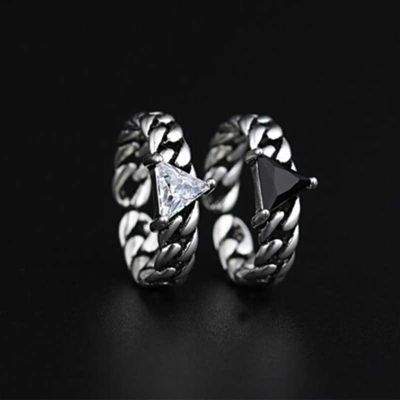 בציר 925 כסף סטרלינג טבעות משולש זירקון פתיחת טבעות Twisted שרשרת מודלים אופנה שחור מקדחת תאילנדי כסף טבעת S-R69