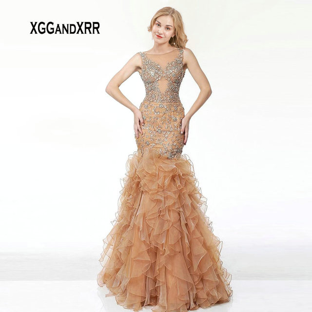 Elegant Champagne Mermaid Long Evening Dresses 2019 Luxury Beaded Sequin Appliques V Backless Prom Dress Formal Party Gown