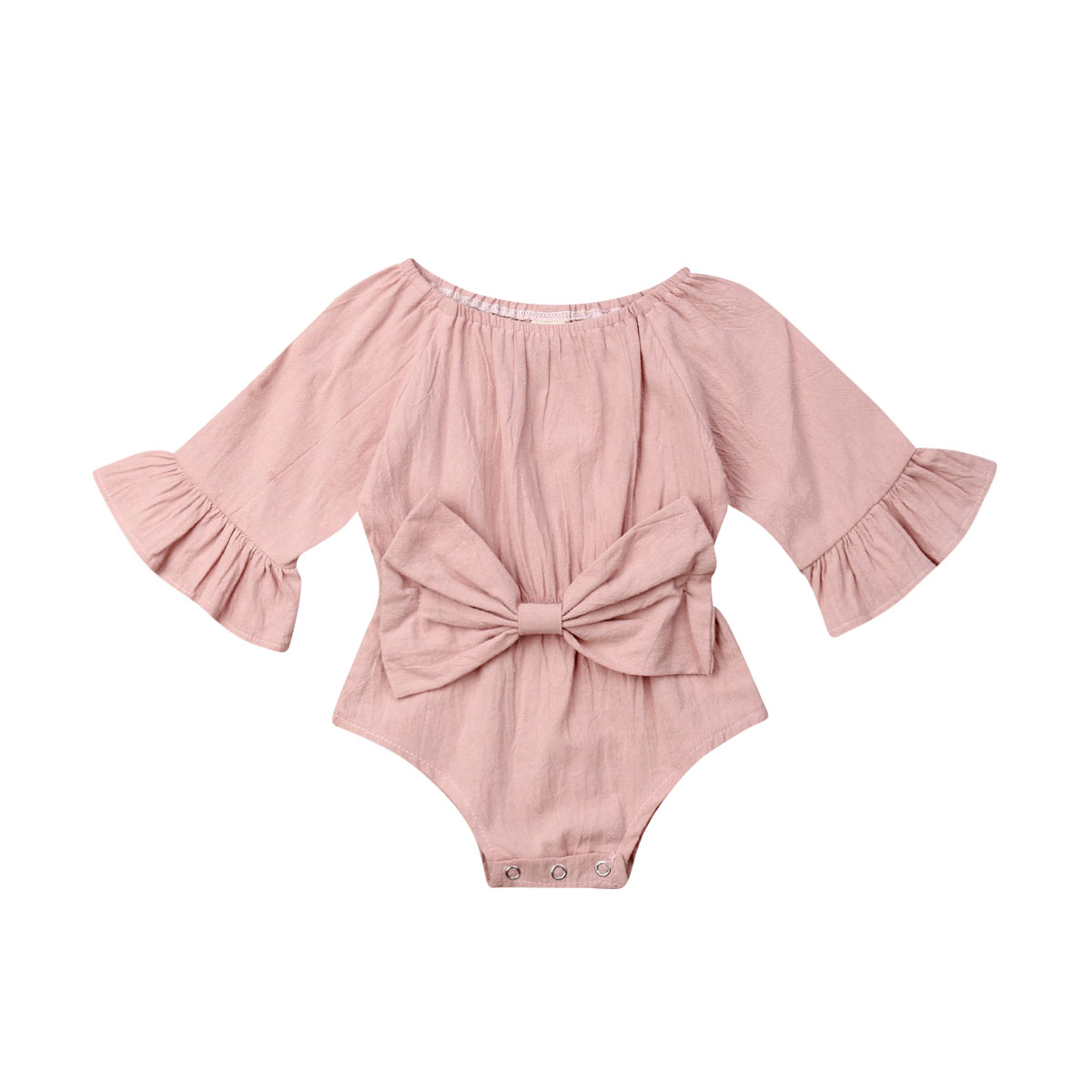 Newborn Infant Baby Girls Rompers Long Sleeve Bowknot Jumpsuit Playsuit Autumn Spring Baby Girls Costumes Clothes