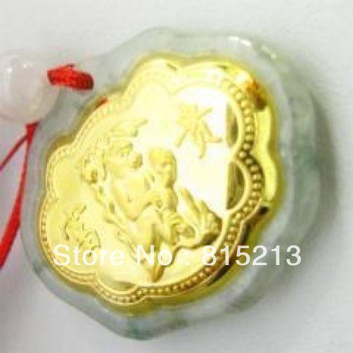 N595 Naturel Jade Agate 24 k Or Zodiaque Singe Collier N Remise