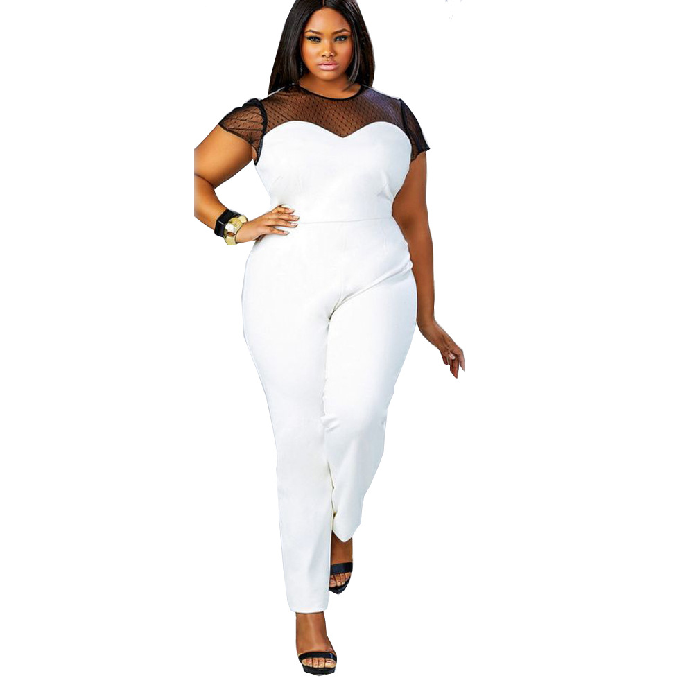 Elegant Jumpsuits For Women 2017 Plus Size Women Clothing Short Sleeve Sexy Mesh Patchwork Slim Skinny Rompers Womens Jumpsuit