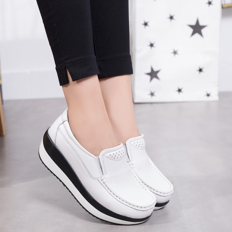 Women Flats Platform Loafers  Leather