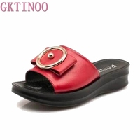 Fashion mother sandals 2018 summer Shoes new slope comfortable Leather slippers elderly woman Plus Size slippers 35 41