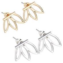2018 Fashion Design Earrings for Women Hollow Out Leaf Flower Stud Earrings Simple Metal Ear Jewelry rhinestone cat design hollow stud earrings