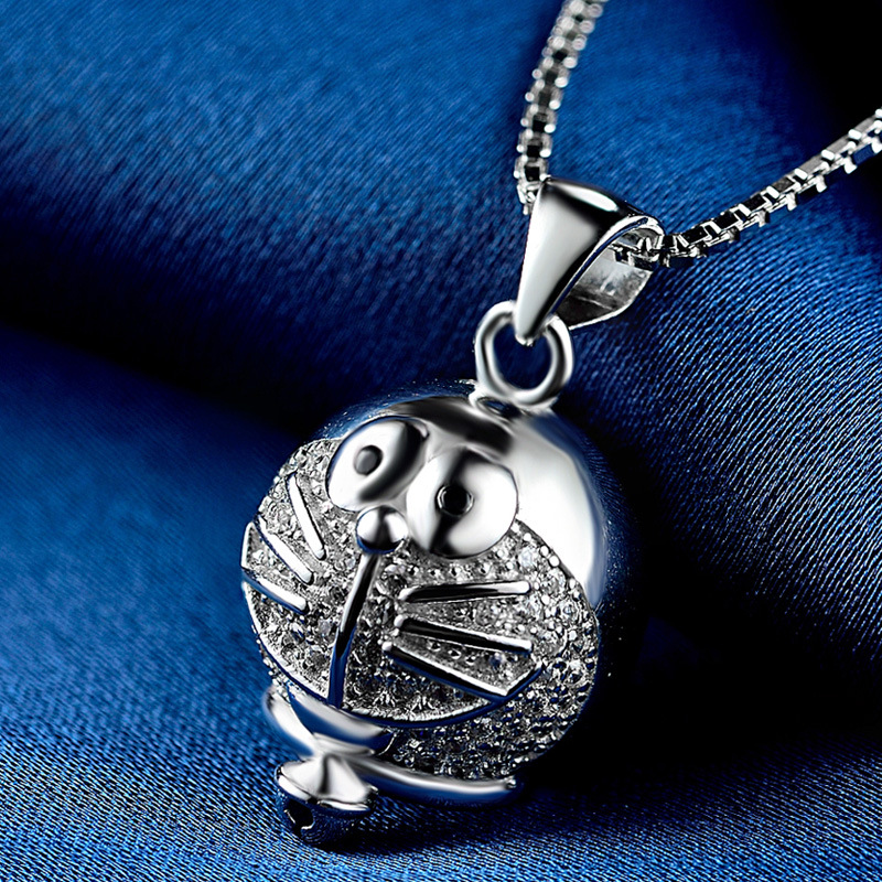 925 Sterling Silver Necklace Cute Doraemon Pendant Necklace Girl Silver Necklace Gift