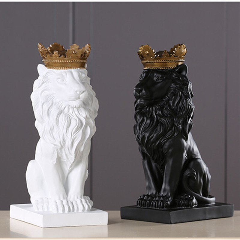 Resin Crafts Home Decoration Accessories Ornaments Lion Statue Sculpture Window Display Gift Lion Ornaments Decoration