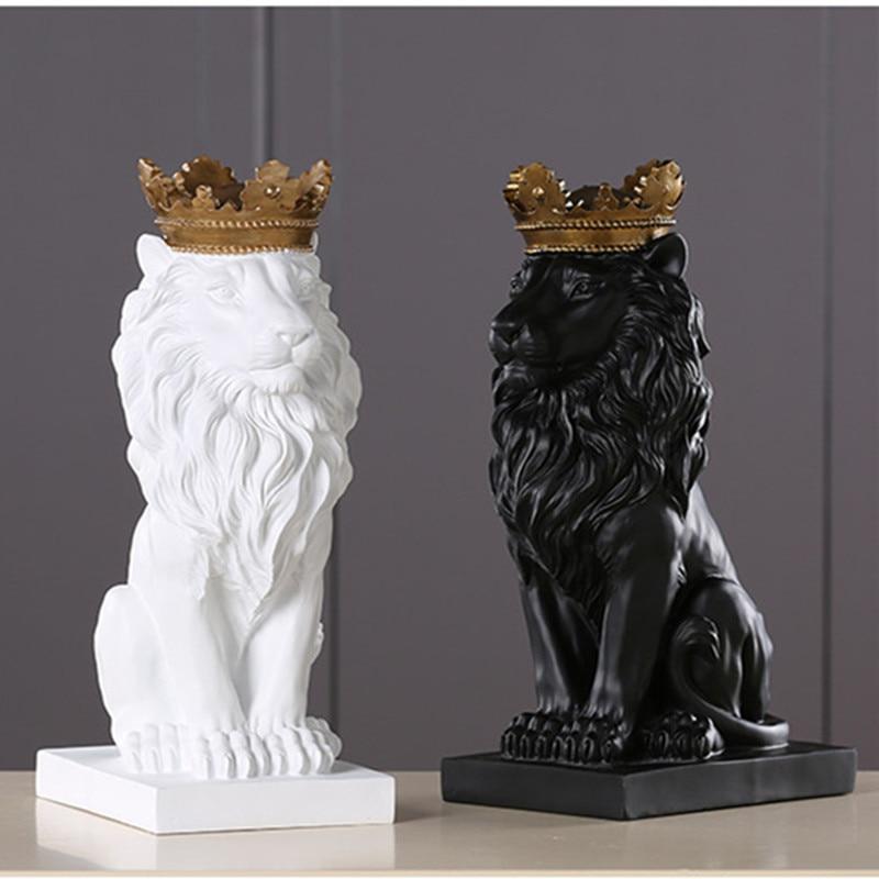 Artesanía de resina accesorios de decoración para el hogar ornamentos estatua de León y escultura ventana regalo León adornos Decoración-in Estatuas y esculturas from Hogar y Mascotas    1