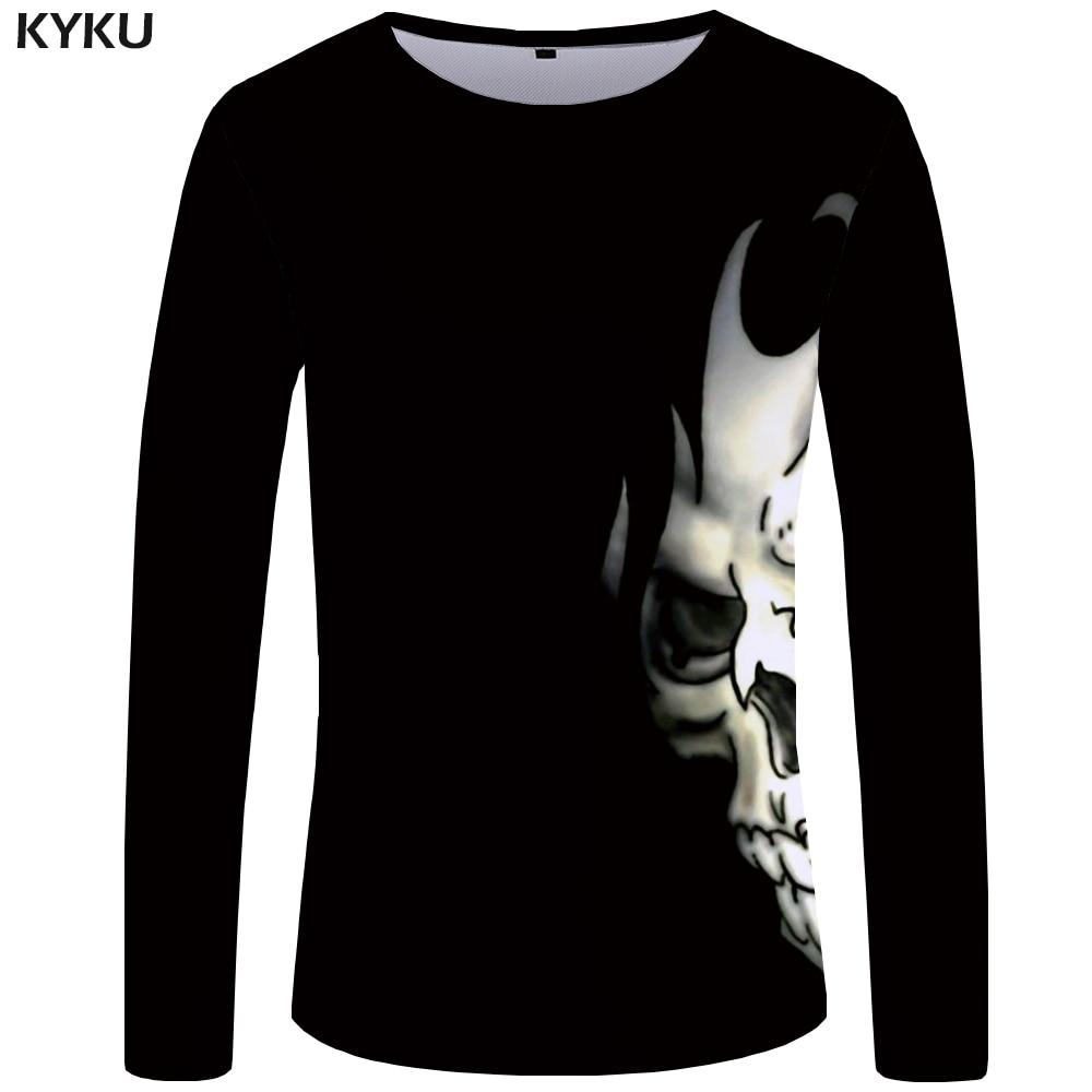 KYKU Skull Long Sleeve T Shirt Women Black Tshirt Punk Rock Clothes Devil 3d T-Shirt Print Hip Hop Womens Clothing Summer Tops