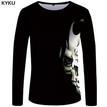 KYKU Skull Long Sleeve T Shirt Women Black Tshirt Punk Rock Clothes Devil 3d T-shirt Print Hip Hop Womens Clothing Summer Tops стоимость
