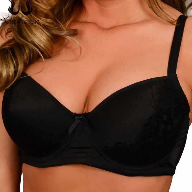 28d0f03a0a Xiushiren Plus Size Lace Bras For Women Floral Underwear Lager Cup Soft  Underwire Black Lingerie Size