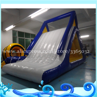 Inflatable floating water slide for kids and adults, inflatable iceberg with slide for water park, rock climbing wall