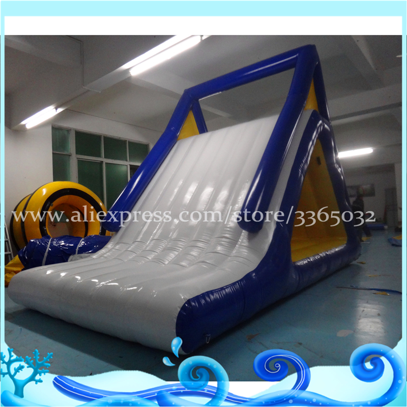 Inflatable floating water slide for kids and adults, inflatable iceberg with slide for w ...
