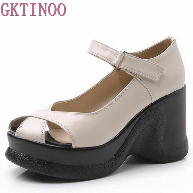 Summer of 2018 the new wedge sandals Genuine Leather Sandals Women Fashion High Heels Female Summer Shoes daily beach sandals in the summer of 2016 the new wedge heels with fish in square mouth denim fashion sexy female cool shoes nightclubs
