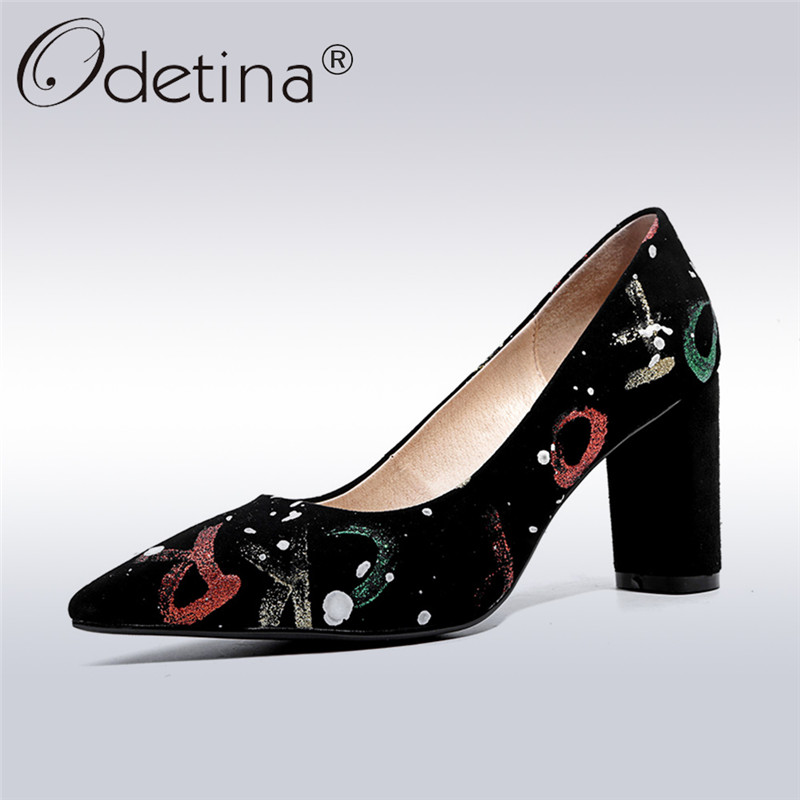 Odetina 2018 New Fashion Women Genuine Leather Pumps Print Pointed Toe Elegant Shoes Ladies Square High Heels Slip On Pumps сумка oboly obl047 2015 drew bag