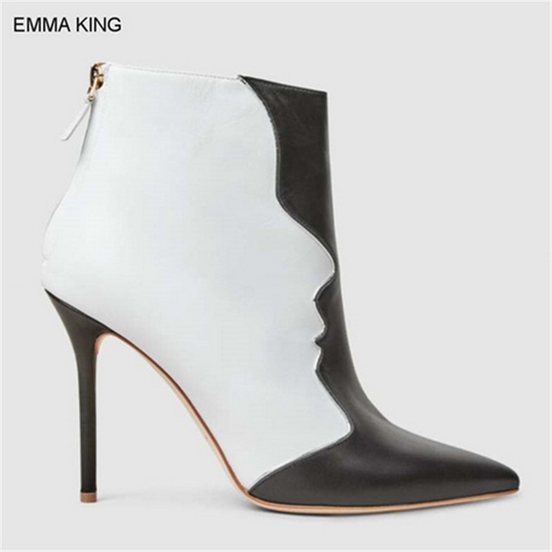 EMMA KING Ankle Boots Women Thin High Heels Back Zipper Winter Shoes Black With White Mixed Color Fashion Mujer Botas For Party EMMA KING Ankle Boots Women Thin High Heels Back Zipper Winter Shoes Black With White Mixed Color Fashion Mujer Botas For Party