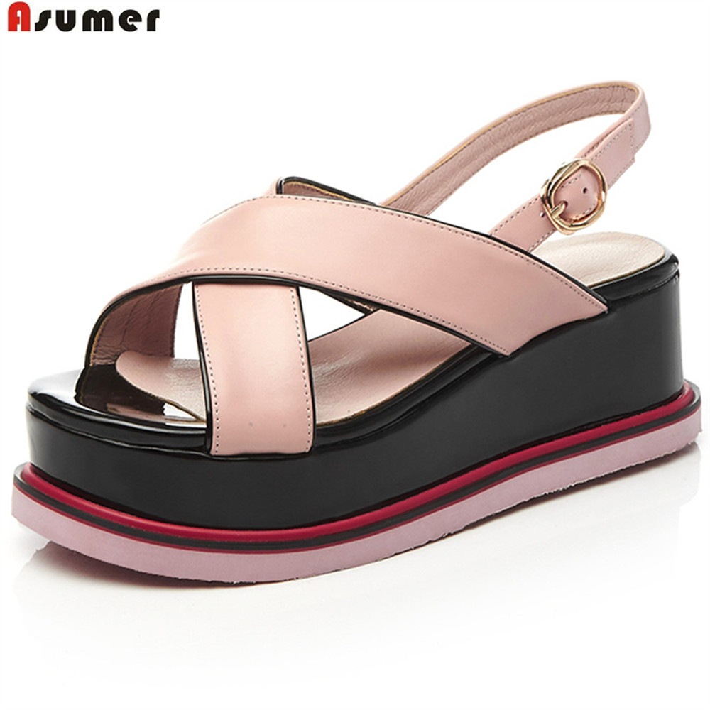 ASUMER white pink summer new 2018 ladies shoes buckle platform wedges woman genuine leather sandals  high heels woman fashion high heels sandals women genuine leather buckle summer shoes brand new wedges casual platform sandal gold silver