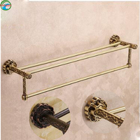 Wall Mounted Carving Classical Antique Brass ORB Bathroom Towel Rack Holder Double Towel Bar Bathroom Accessories