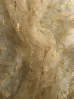 Gold Embroidered Lace, Gauze Ivory Retro Golden Embroidery Florals Bridal Gown Veil Gauze Fabric Luxury Gorgeous Style MF126