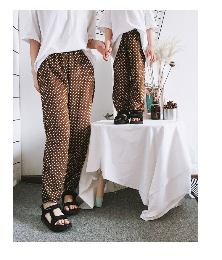 Mother Daughter Clothes 2018 New Summer Baby Girl Lantern Pants Family Look Kids Dot Printed Casual Trousers Pant Mosquito Pants 23
