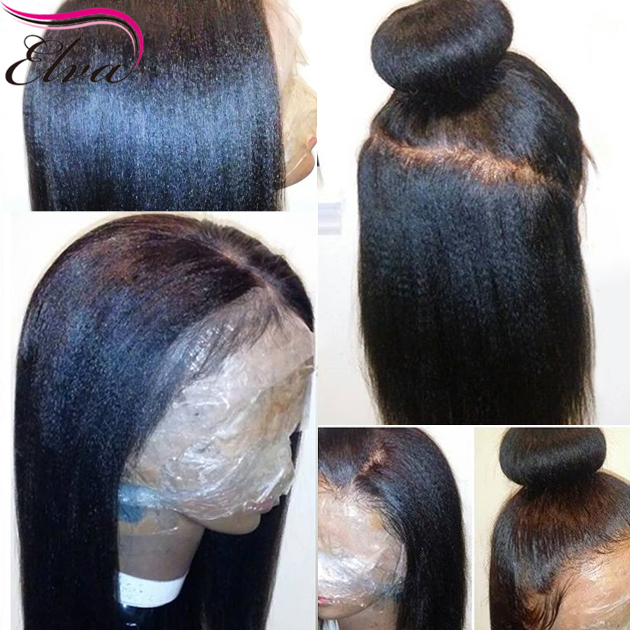 Elva Hair Lace Front Human Hair Wigs For Black Women Pre Plucked Hairline Yaki Straight Brazilian Remy Hair Wigs With Baby Hair