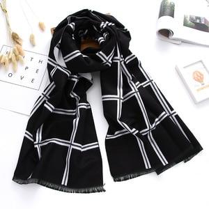 Image 4 - Роскошный брендовый зимний шарф 2020, кашемировые шарфы для женщин, шали и палантины, клетчатое плотное теплое мягкое одеяло большого размера, женское одеяло