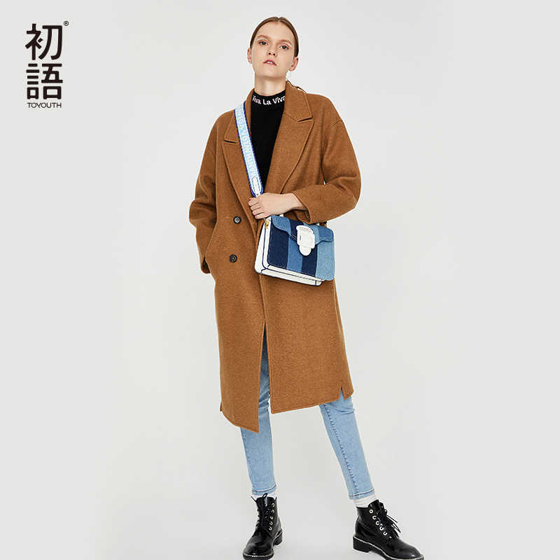 Toyouth Woolen Winter Women Coats Casual Warm Thick Coat Abrigo Mujer Blend Overcoat Long Ladies Wool Pockets New Coat 2019