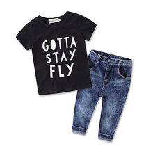 2pcs kids baby Boys Summer Short Sleeve Cotton Letter T-shirt + Long Jeans Denim Pants Spring Autumn Clothing