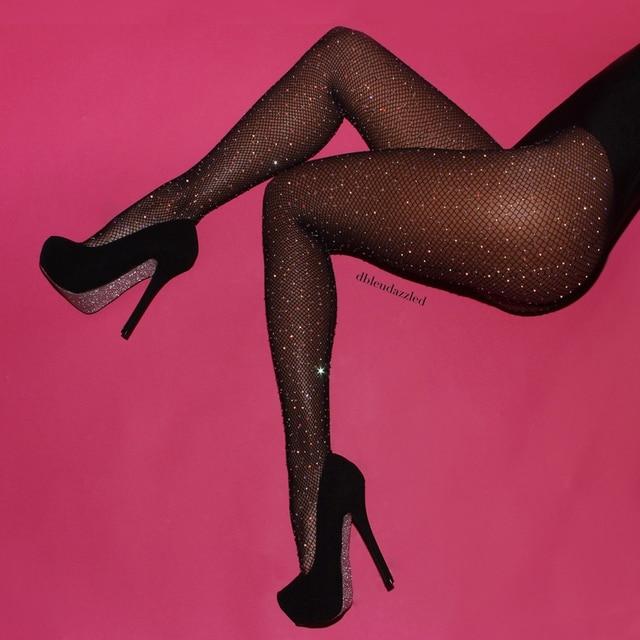 Diamond Fishnet Mesh Thigh-High Stockings