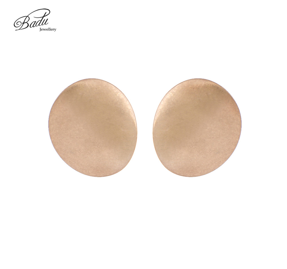 Badu Frosted Gold Stud Earring Small Metallic Twisted Geometric Studs Women Punk Jewelry Wholesale
