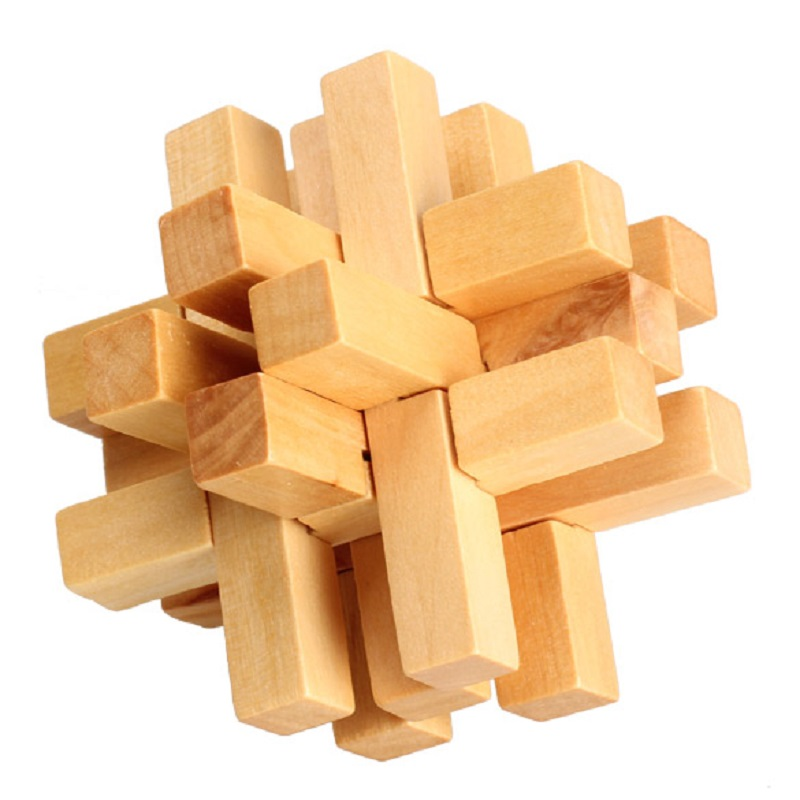 Chinese Traditional 14 Wooden Bricks Lock/Unlock Puzzle Toy Educational Brain Teaser Adult Assembly Luban Lock Toy Kits