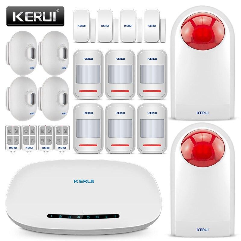 KERUI alarme maison sans fil GSM système d'alarme sécurité cambrioleur Kit d'alarme avec 110db sirène extérieure capteur de mouvement porte/fenêtre Sesor