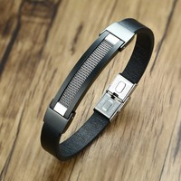 Upscale Mens Black ID Leather Bracelet With Steel Stacked Wire Inlay For Male Bangle Wristband Modern