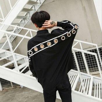 2018  Dark black personality iron ring decorative men's long-sleeve shirt hipster men's loose bat sleeve shirt  M-XL