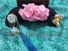 Терем GeGe династии цин принцесса Hanfu аксессуары для волос волос парик + волос ювелирные изделия полный комплект
