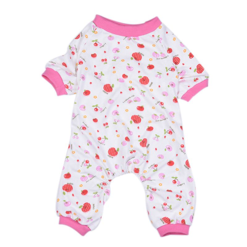 Little Red Horse Five-pointed Star Cherry Pattern Four Feet Pet Clothes Pajamas Cotton Fashion Comfortable Sleep Dog Pajamas