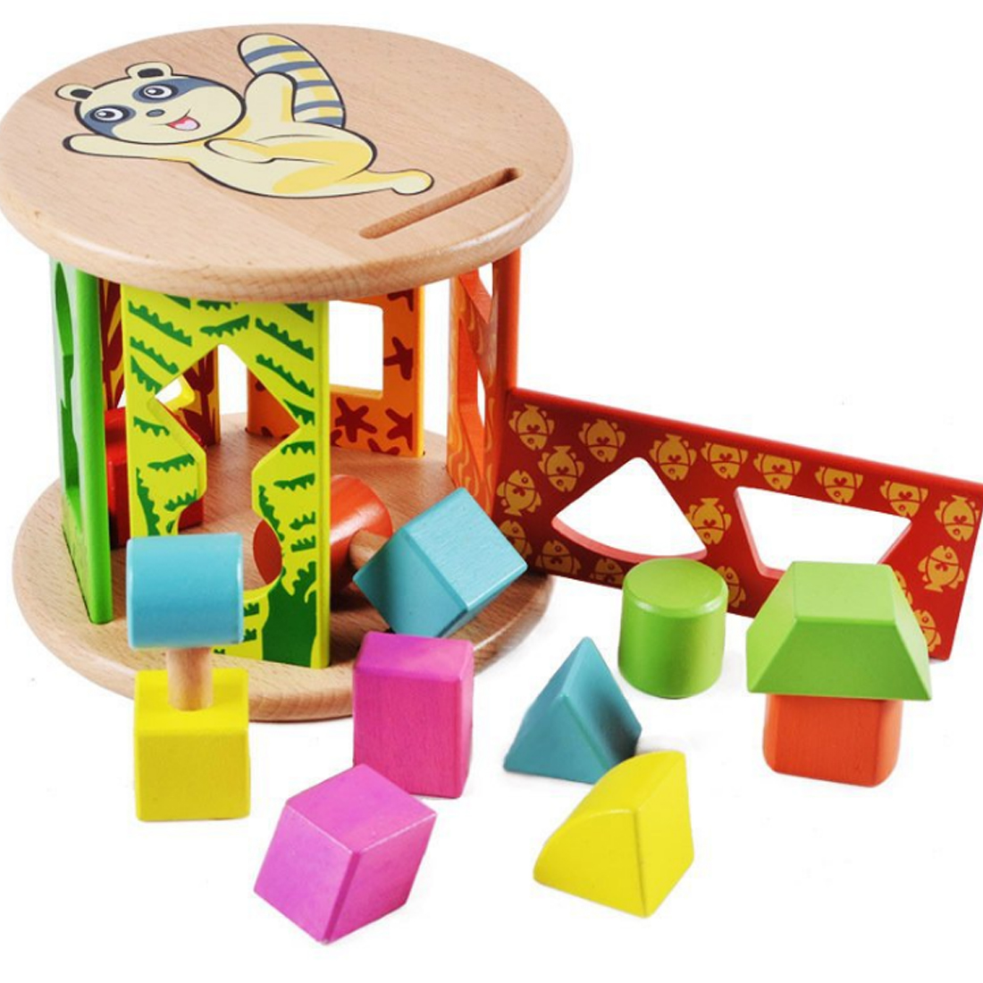UTOYSLAND Children Wooden Shape Sorter Cylinder Shaped Blocks Early Educational Toys for Kids Gift - Colorful 13 holes wooden toys intelligence box for shape sorter cognitive and matching building sorority eductional toys for children