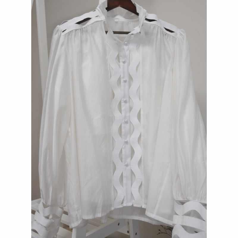 Fala Hollow Out spódnica mankiet łatwe Joker małe stoisko ołowiu latarnia rękaw Twinset koszula
